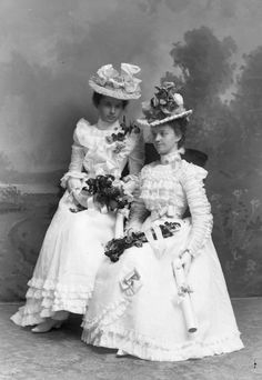 facesofthevictorianera:(via Two Women Wearing White Dresses   Photograph   Wisconsin Historical Society)  c. 1890s