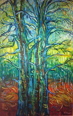 Stromy, olej na plátne 110 x 70 cm, Pavel Huszár, Banská Bystrica, Slovakia