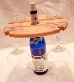 Wine Glass Holder/ Cheese & Cracker Platter by Lumberamics on Etsy