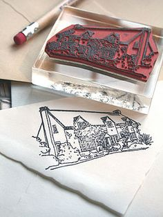 Personalized House Portrait Stamp
