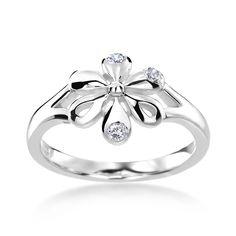 SummerRose 14k White Gold 1/10ct TDW Diamond Flower Ring (H-I, SI1-SI2) (Size 6.5), Women's (floral)