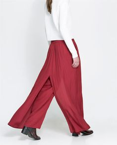 Image 4 of LONG WIDE-LEG TROUSERS from Zara