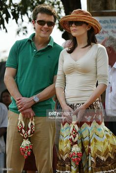 Crown Prince Frederik and the Crown Princess Mary of Denmark talk on their visit to a shelter for hundreds of villagers left homless after the tsunami April 16, 2005 in Khao Lak, Thailand. The Danish Royals came with an official delegation along with 210 relatives of the Danish victims. Thirty six Danes have been confirmed dead and 10 are still missing. The beach resort of Khao Lak was the worst hit in Thailand by the December 26, 2004 Indian Ocean Tsunami killing more than 5,300 with 2,900…