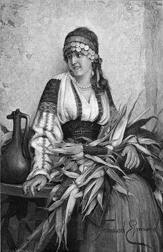 IA în ARTĂ / The Romanian blouse depicted in paintings Folk Costume, Costumes, Still In Love, Romania, Linen Fabric, Hand Embroidery, Folk Art, Colours, Statue