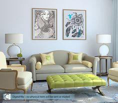 large Printable Art. Hand Painting Wall decor. Beautiful girl.