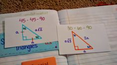 Special Right Triangle Reference Cards (Index Cards kept in pocket in INB)