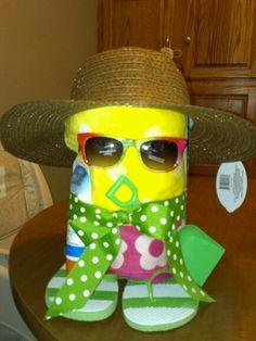 End of school Summer Teacher gift, has summer magazines in back, sunblock,beachtowel, flip flops, sunglasses, hat, and shovel.