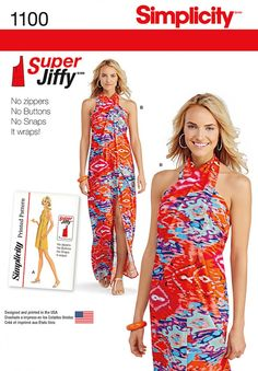 Simplicity 1100 Misses' Super Jiffy Cover Up in Two Length Sewing Pattern