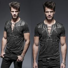 Men Black Fitted Gothic Steam Punk Fashion T Shirts SKU-11409344