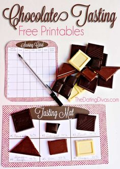 Forget about wine and cheese- how about a chocolate tasting?!  Download the FREE printables, grab some chocolate bars, and youre set!  Talk about a perfect V-day date!  www.TheDatingDivas.com #dateideas #chocolateparty #datingdivas