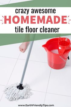 It's never been easier to get your tile floors clean thanks to this awesome homemade tile floor cleaner. This DIY tile floor cleaner contains just a few simple and natural ingredients to effectively clean your floor. If you're looking for a way to naturally clean your tile floors, discover how to make this homemade tile floor cleaner. eco-friendly|natural|cleaning|homemade|DIY|tile floor cleaner Diy Tile Floor Cleaning, Cleaning Vinyl Floors, Diy Floor Cleaner, Tile Floor Diy, Ceramic Floor Tiles, Homemade Cleaning Products, Natural Cleaning Products, Diy Cleaners, Cleaners Homemade