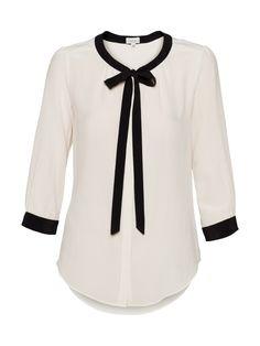 Monochrome Tie Silk Blouse
