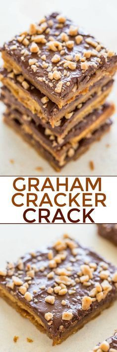 Graham Cracker Toffee (aka Graham Cracker CRACK) - Sweet, buttery, caramely, perfectly chocolaty, topped with toffee bits for extra crunch! Lives up to its name and extremely ADDICTIVE! An EASY holi (Favorite Desserts Graham Crackers) Graham Cracker Toffee, Saltine Toffee, Toffee Bars, Graham Cracker Dessert, Graham Cracker Crack Recipe, Christmas Crack Recipe Graham Crackers, Cracker Candy, Graham Cracker Cookies, Recipes With Graham Crackers
