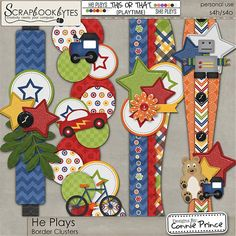 He Plays - Border Clusters :: Page Edges :: Embellishments :: SCRAPBOOK-BYTES