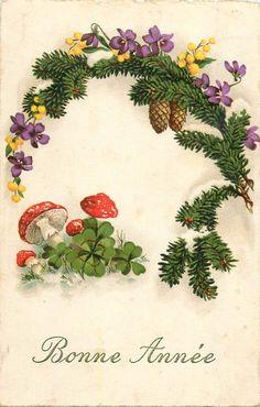 NEW Year Greetings Mushrooms Luck Sharmrock Pine Cones Floral Fantasy   eBay