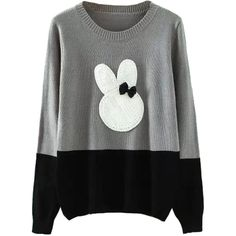 Choies Gray Contrast Rabbit Pattern Long Sleeve Knitted Sweater ($32) ❤ liked on Polyvore