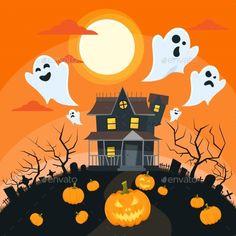 Halloween House Flat Vector Illustration EPS