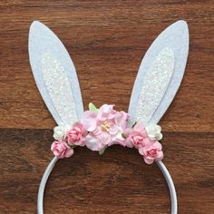 Headband Easter headband Bunny Ears Glitter Felt by GrantleyDesign