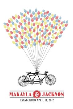 Personalized Wedding Guest Book Thumbprint Poster - Tandem Bicycle