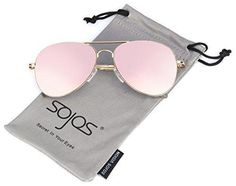 SojoS Classic Aviator Metal Frame Mirror Lens Sunglasses with Spring Hinges SJ1030 With Gold Frame/Pink Lens