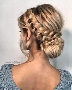 Beautiful wedding braided updo hairstyle ,messy updo wedding hairstyles ,chignon , messy updo hairstyles ,bridal updo,crown braid updo #wedding #weddinghair #weddinghairstyles #hairstyleideas #updo #promhairstyle