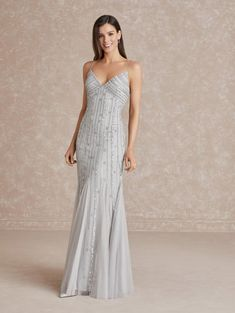 Adrianna Papell 40287 Tie Back Empire Gown Modest Dresses, Sexy Dresses, Casual Dresses, Short Dresses, Dress Skirt, Lace Dress, Homecoming Dresses, Bridesmaid Dresses, Communion Dresses
