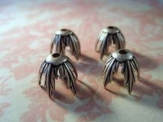Oxidized Silver Plated Brass Bead Caps (4) - SOS4012 Jewelry Finding