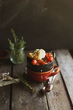 gorgeous photography and a different idea for a cobbler. #foodphotography #tomatoes #cobbler