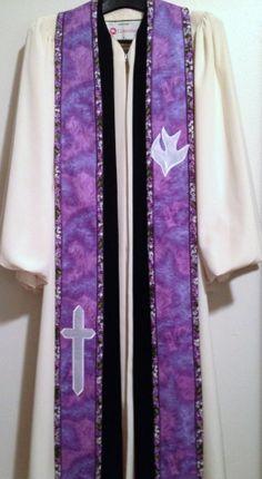 Clergy Stole  Purple Lenten Stole w/ Dove and by PulpitStoles, $176.00