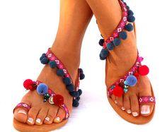 Sandalias cuero Goa Pom Pom coloridas sandalias por DelosArt