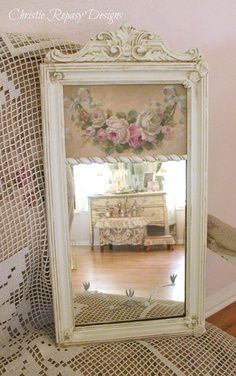 Christie Repasy Door | Trumeau mirror w/ french swag of roses ~ C.Repasy