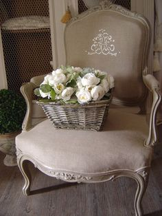 Great vignette-a chair to ponder in -- OR KNIT