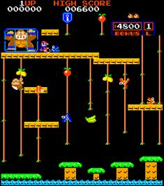 "Upright ""Donkey Kong Jr"" Vintage Video Games, Classic Video Games, Retro Video Games, Video Game Art, Playstation, Donkey Kong Junior, Retro Arcade Games, Nintendo, Retro Videos"