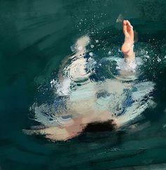 水面の表現が秀逸。全裸で川を泳ぐお姉さんを描いた絵画作品
