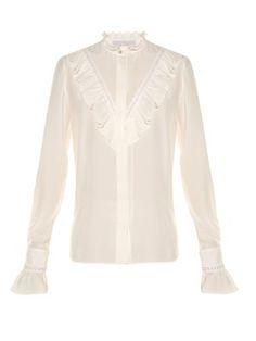 Ruffled high-neck silk blouse | Stella McCartney | MATCHESFASHION.COM