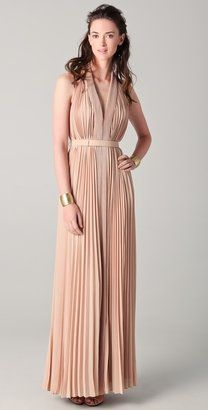 ShopStyle: Halston heritage Pleated V Neck Gown
