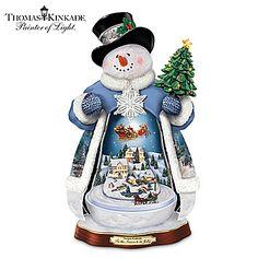 Thomas Kinkade Lighted Moving Musical Snowman Figurine