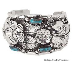 Artisan Crafted Sterling Silver Floral Motif Turquoise Cuff Bracelet New QVC