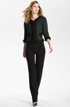 St. John Collection 'Diana' Straight Leg Crepe Marocain Pants available at #Nordstrom