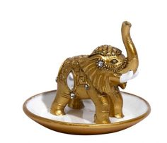 This really cute elephant ring holder is made from metal with a lovely gold finish. Drop your rings onto his trunk and place your other favourite jewellery accessories in the dish at the base. Very pretty and will look perfect on a dressing table.