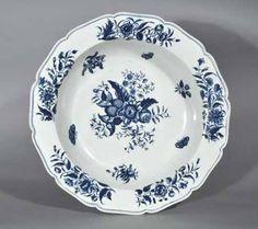 A Massive First Period Worcester Underglaze Blue Porcelain Pine Cone Pattern Basin, Circa 1770-85.