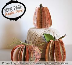 Make a book page pumpkin patch with an old book or sheet music