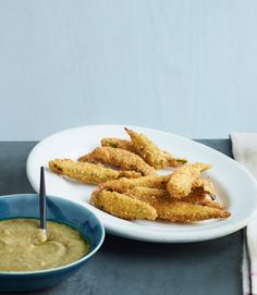 Cornmeal Fried Okra with Eggplant Dip