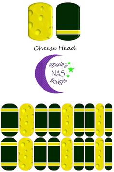 Green Bay Packers Cheese Head nail wraps. Jamberry NAS. Angela's NAS Designs.
