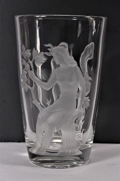Antique Verlys Art Deco Crystal Glass Vase Summer Winter Figural Carl Schmitz #ArtDeco #Verlys