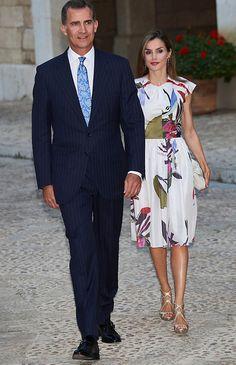 King Felipe VI, Queen Letizia and Queen Sofía of Spain received the authorities and a representation of the balearic society at Palacio Real de La Almudaina in Palma de Mallorca, Spain on August 07, 2016