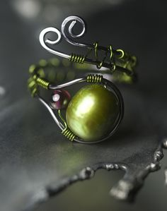 Green Pearl and Garnet Copper Wire Ring by Moss & Mist Jewelry