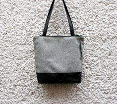 Tote bag handbagWhite and black herringbone with by CheriDemeter, $43.00