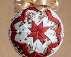 Quilted Christmas bauble crochet lace ornament folded fabric   Etsy Folded Fabric Ornaments, Quilted Ornaments, Beaded Ornaments, Ball Ornaments, Ornament Tree, Snowflake Quilt, Snowflakes, Christmas Baubles, Christmas Gifts