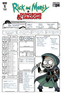 """Rick and Morty vs. Dungeons & Dragons variant cover """"B"""" by Troy Little. Rick And Morty Characters, Dungeons And Dragons Characters, D&d Dungeons And Dragons, D D Characters, Dnd Character Sheet, Character Art, Comic Book Companies, The Kingkiller Chronicles, Rick And Morty Poster"""